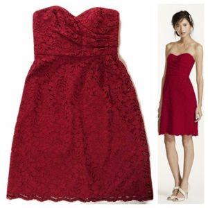David's Bridal Red Lace Strapless Dress Midi 6
